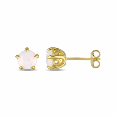 Laura Ashley Genuine White Opal 18K Gold Over Silver 6.8mm Stud Earrings