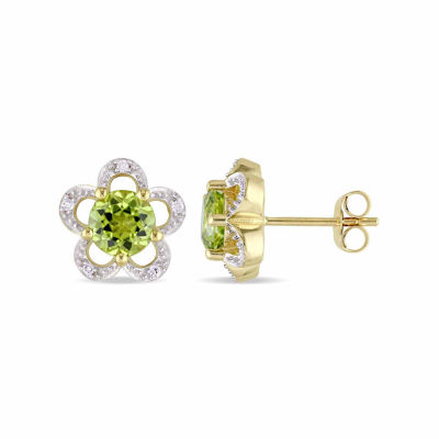 Laura Ashley Diamond Accent Genuine Green Peridot 10K Gold 10.8mm Stud Earrings