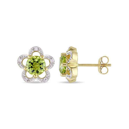 Laura Ashley Diamond Accent Genuine Green Peridot 10K Gold 10.8mm Stud Earrings