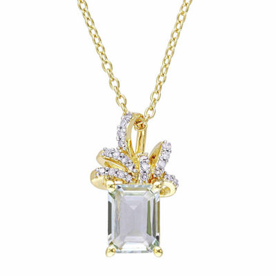 Laura Asley Womens Genuine Green Amethyst 18K Gold Over Silver Bow Pendant