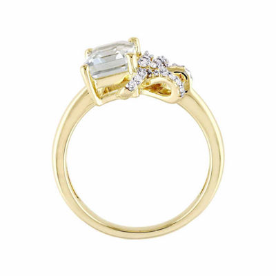 Laura Ashley Womens Green Amethyst 18K Gold Over Silver Cocktail Ring