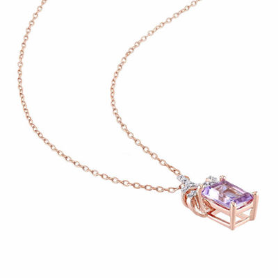 Laura Asley Womens Genuine Purple Amethyst 18K Gold Over Silver Bow Pendant