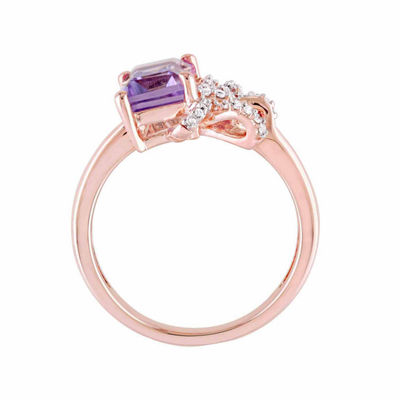 Laura Ashley Womens Genuine Purple Amethyst 18K Gold Over Silver Bow Cocktail Ring