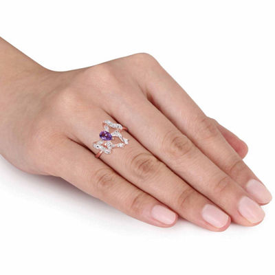 Laura Asley Womens Genuine Purple Amethyst 18K Gold Over Silver Bow Cocktail Ring