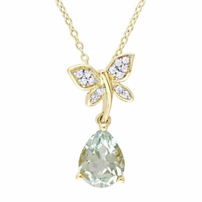 Laura Ashley Womens Green Amethyst 18K Gold Over Silver Pendant Necklace