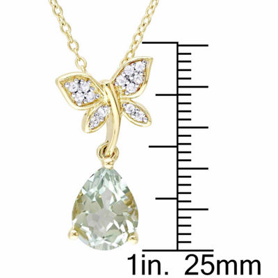 Laura Asley Womens Genuine Green Amethyst 18K Gold Over Silver Butterfly Pendant Necklace