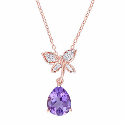 Laura Ashley Womens Genuine Purple Amethyst 18K Gold Over Silver Butterfly Pendant Necklace