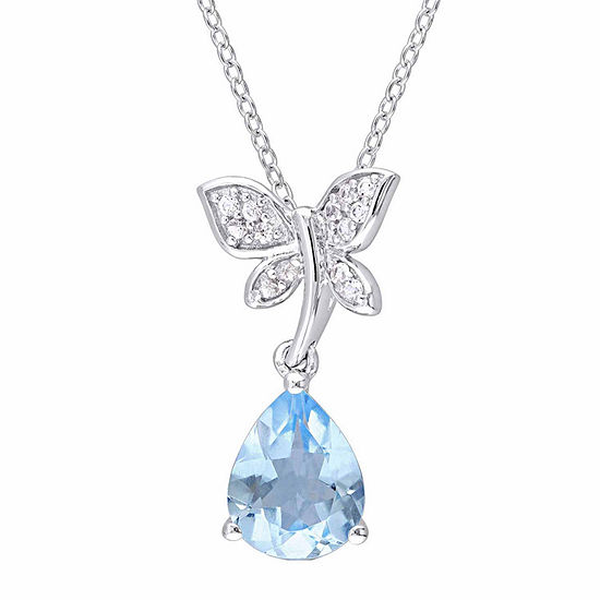 Laura Ashley Womens Genuine Blue Topaz Butterfly Pendant Necklace