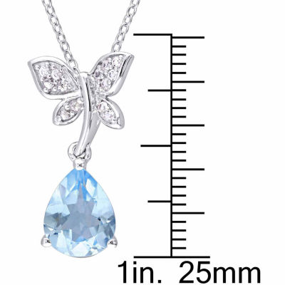 Laura Ashley Womens Blue Blue Topaz Sterling Silver Pendant Necklace