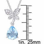 Laura Ashley Womens Genuine Blue Topaz Sterling Silver Butterfly Pendant Necklace