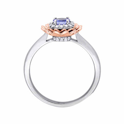 Laura Asley Womens Genuine Purple Tanzanite 10K Gold Over Silver Flower Cocktail Ring