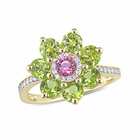 Laura Ashley Womens Genuine Green Peridot 18K Gold Over Silver Flower Cocktail Ring