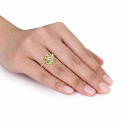 Laura Ashley Womens Green Peridot 18K Gold Over Silver Cocktail Ring