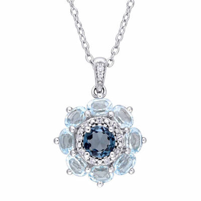 Laura Ashley Womens Blue Topaz Sterling Silver Pendant Necklace