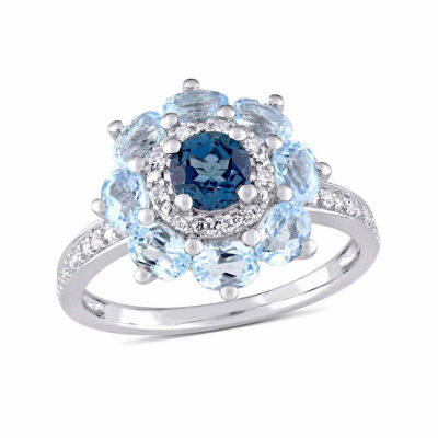 Laura Ashley Womens Genuine Blue Topaz Sterling Silver Cocktail Ring