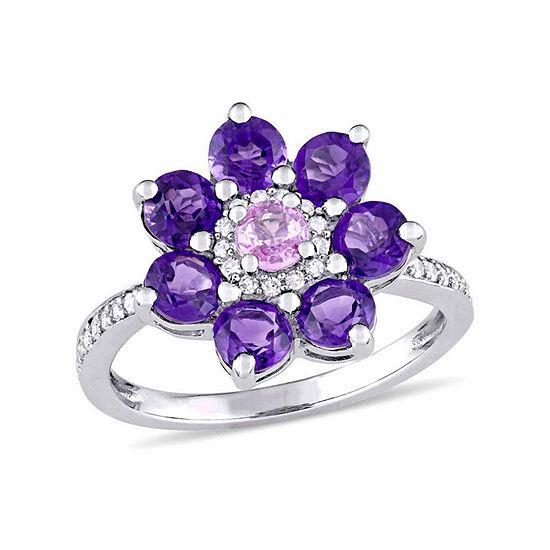 Laura Ashley Womens Genuine Purple Amethyst Sterling Silver Flower Cocktail Ring