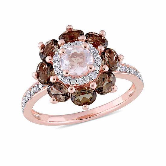 Laura Ashley Womens Genuine Pink Quartz 18K Gold Over Silver Flower Cocktail Ring