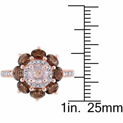 Laura Ashley Womens Genuine Pink Quartz 18K Gold Over Silver Flower Cocktail Ring