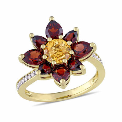Laura Asley Womens Genuine Yellow Citrine 18K Gold Over Silver Flower Cocktail Ring