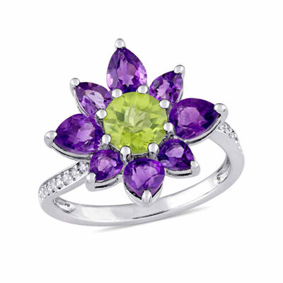 Laura Ashley Womens Genuine Green Peridot Sterling Silver Flower Cocktail Ring