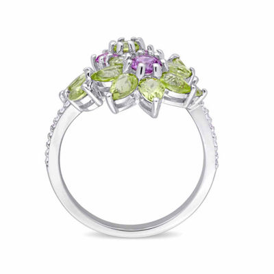 Laura Asley Womens Genuine Green Peridot Sterling Silver Flower Cocktail Ring