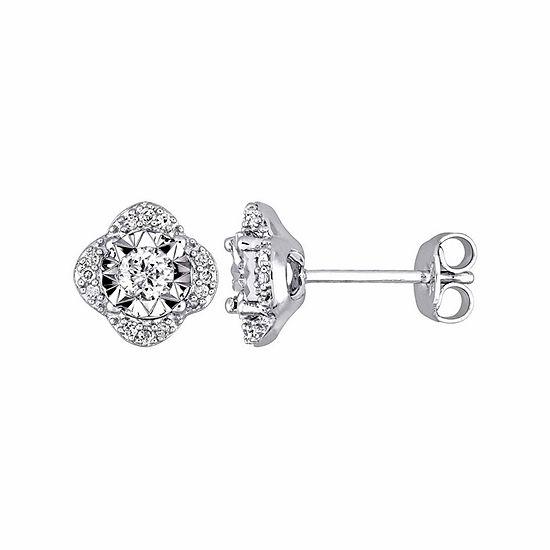 Laura Ashley 1/3 CT. T.W. Genuine White Diamond 9mm Stud Earrings
