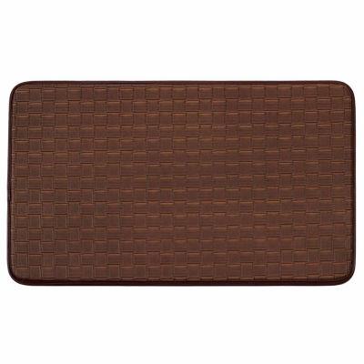 Chef Gear Faux-Leather Basket Weave Comfort Kitchen Mat