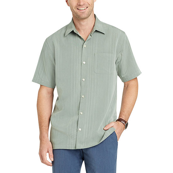 Van Heusen Mens Short Sleeve Cooling Striped Button-Front Shirt