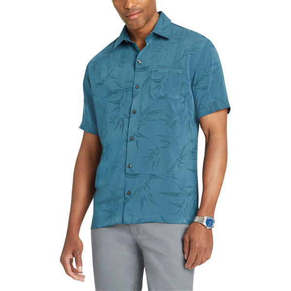 Van Heusen Short Sleeve Leaf Button-Front Shirt