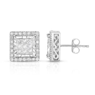 TruMiracle® 1 CT. T.W. Princess White Diamond 10K Gold Stud Earrings