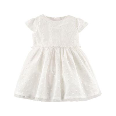 Carter's Sateen Short Sleeve Plaid A-Line Dress Girls