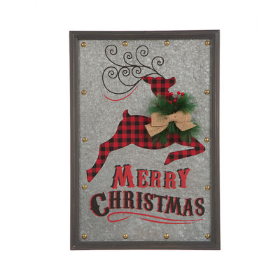 Glitzhome Galvanized Reindeer Wall Sign