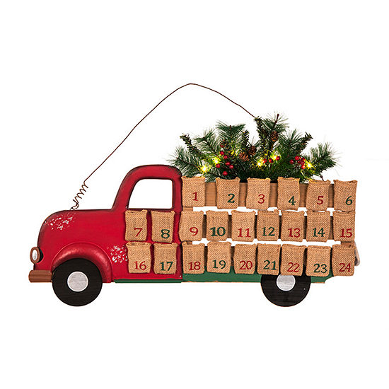 Glitzhome Lighted Truck Transportation Advent Calendar