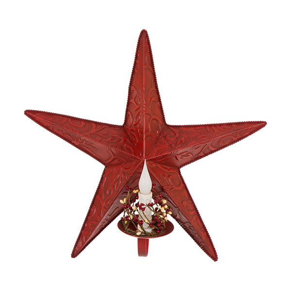 Glitzhome Star With Led Candle Wall Sign