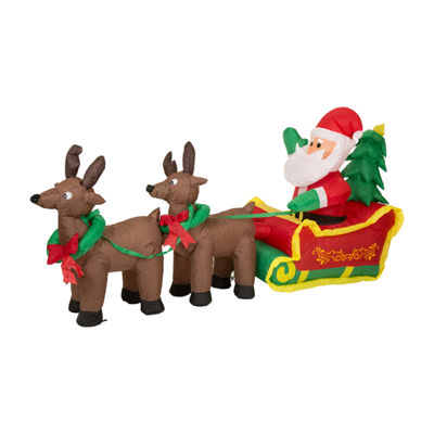 Glitzhome Lighted Santa Sleigh Outdoor Inflatable