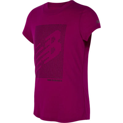 New Balance Girls Round Neck Short Sleeve Moisture Wicking Graphic T-Shirt-Preschool
