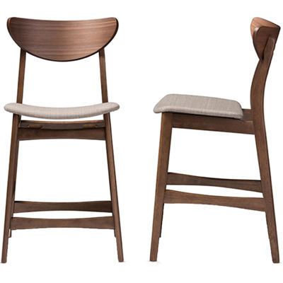 Baxton Studio Latina Counter Height 2-pack Upholstered Bar Stool