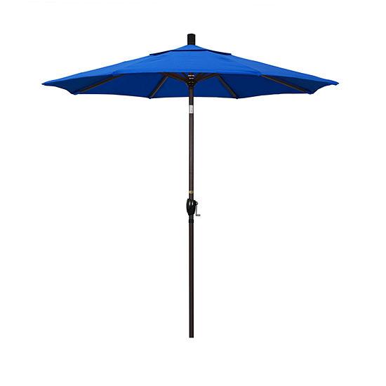 California Umbrella 7.5' Pacific Trail Series Solid Olefin Patio Umbrella With Bronze Aluminum Pole Aluminum Ribs Push Button Tilt Crank Lift