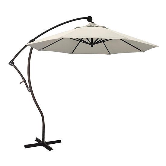 California Umbrella 9' Bayside Series Solid Olefin Cantilever Patio Umbrella With Bronze Aluminum Pole Aluminum Ribs 360 Rotation Tilt Crank Lift