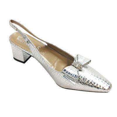 Whittall & Shon Womens Baby Croc Soft Toe Cone Heel Pumps