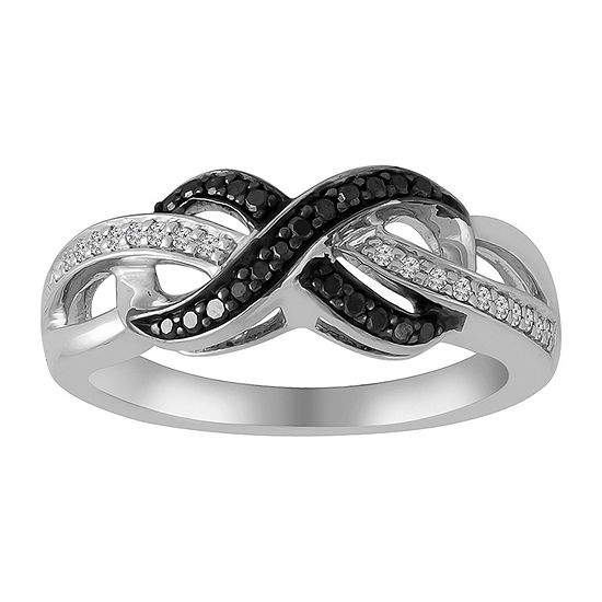 Womens 1/5 CT. T.W. Genuine White Diamond Sterling Silver Infinity Cocktail Ring
