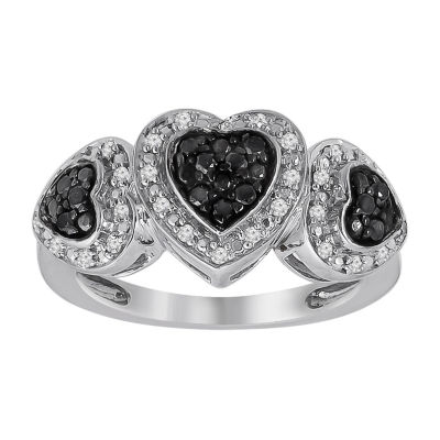 Womens 1/4 CT. T.W. Genuine Black Diamond Sterling Silver Heart Cocktail Ring