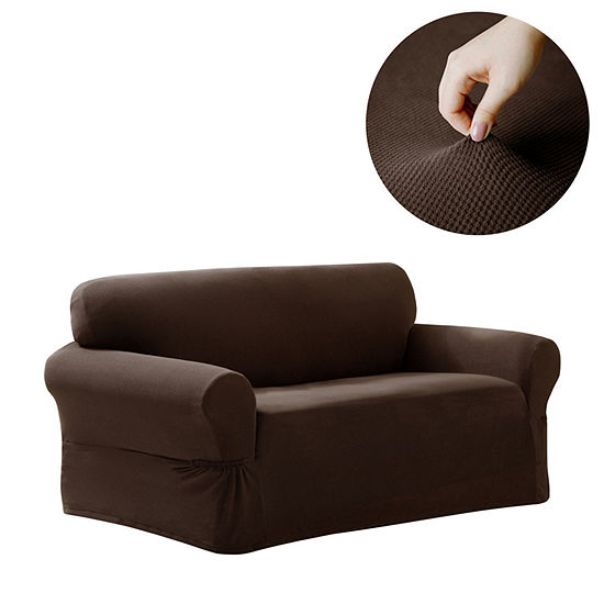 Maytex Smart Cover® Pixel Textured Mini Dot Stretch 1 Piece Loveseat Furniture Cover Slipcover