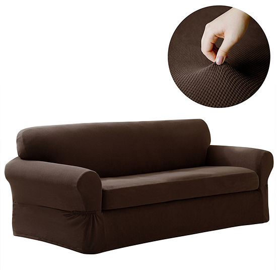 Maytex Smart Cover® Pixel Textured Mini Dot Stretch 2 Piece Sofa Furniture Cover Slipcover