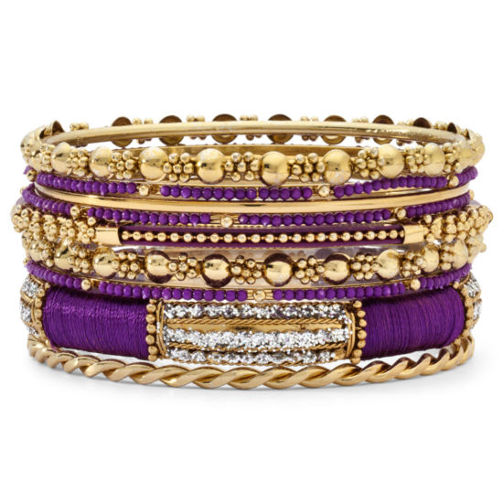 Purple & Gold-Tone Mixed Media 9-Pc. Bangle Set