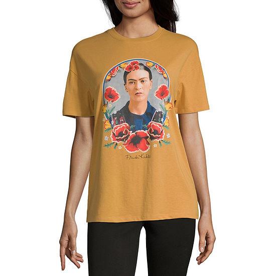 Juniors Frida Womens Crew Neck Short Sleeve Graphic T-Shirt