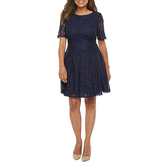 Danny & Nicole Short Sleeve Floral Lace Fit & Flare Dress  -Petite