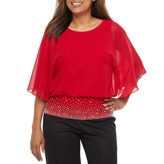 MSK Womens Round Neck 3/4 Sleeve Embellished Blouse -Petite