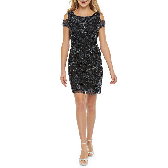 MSK Short Sleeve Cold Shoulder Beaded Shift Dress