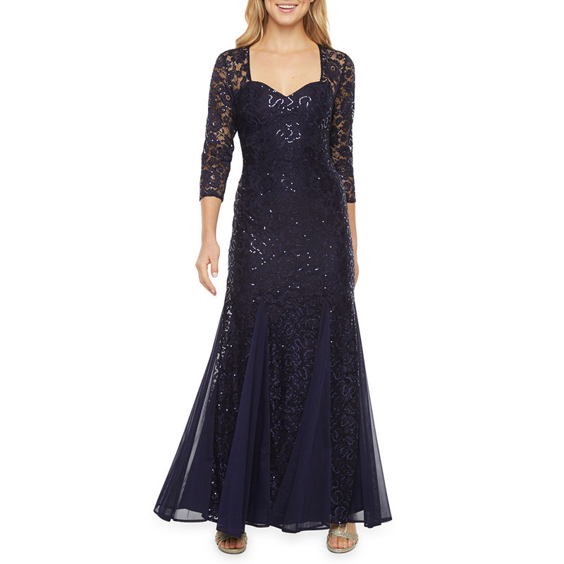 1930s Evening Dresses | Old Hollywood Silver Screen Dresses Onyx Nites 34 Sleeve Sequin Lace Sheath Dress $74.99 AT vintagedancer.com